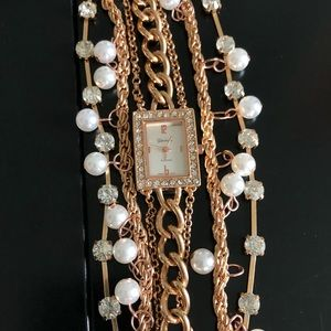 Jewelry - Rose Gold Pearl Crystal Watch